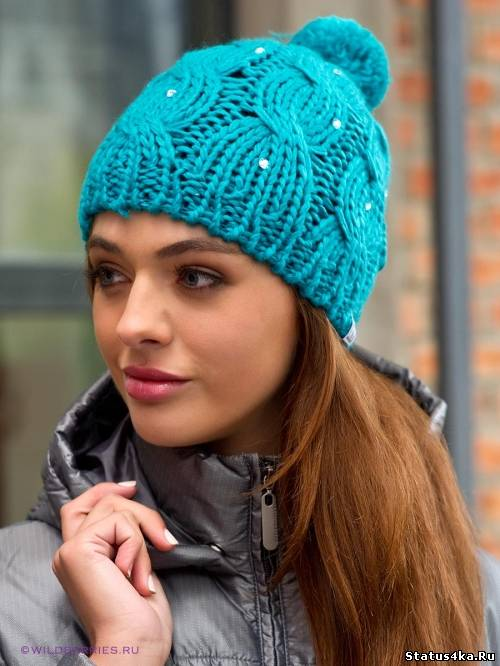 Вязание спицами модная шапка 14